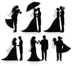 Bride and Groom Umbrella Silhouette for Fingerprint Guestbook
