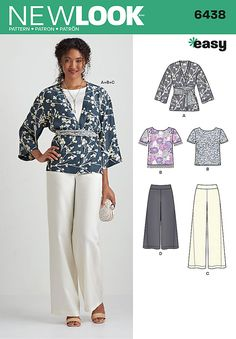 Misses Easy Trousers, Kimono, and Top New Look Sewing Pattern 6438. Size 10-22.