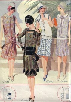 vintage fashion style dress day dinner cocktail sportswear black satin silk chiffon pink white cotton plaid blue trim hat cloche purse clutch shoes color illustration print ad Knee-grazing summer fashions from 20s Fashion, Art Deco Fashion, Fashion History, Retro Fashion, Vintage Fashion, Fashion Skirts, Flapper Fashion, Victorian Fashion, French Fashion