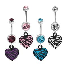 316L, Zebra Print, Animal Print, Dangle, Double Gem, Heart, Belly Rings #BodyVibe #heart