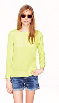 casual chic | J. Crew silk sweater  #denim