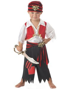 Ahoy Matey Boy's Halloween Costume 2014 - Let your child live a pirate's life in this Toddler Ahoy Matey Pirate Costume. Add a pirate hat, boots and toy weapons, and he's ready for a Halloween treasure hunt!