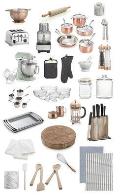 Collection of copper, glass & stainless steel kitchen accessories