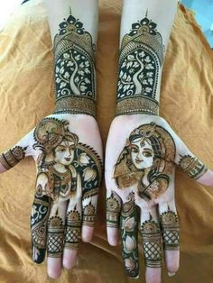 Absolutely love this Radha Krishan portrait on mehendi | Tree of life design | Trending mehendi designs for brides | Bridal henna inspiration | Henna Tattoos | Mehndi design  ideas | Image source: Pinterest | Every Indian bride's Fav. Wedding E-magazine to read. Here for any marriage advice you need | www.wittyvows.com shares things no one tells brides, covers real weddings, ideas, inspirations, design trends and the right vendors, candid photographers etc.
