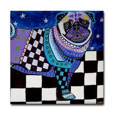 4x4 Pug Art Tile Coaster ceramic  Inch by HeatherGallerArt on Etsy, $20.00