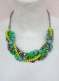 Kaufe meinen Artikel bei #Kleiderkreisel http://www.kleiderkreisel.de/accessoires/ketten-and-anhanger/121973816-grun-turkis-silberne-statementkette-von-hm