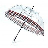 Paraguas largo transparente y cuadros
