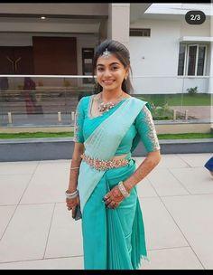 Pattu Saree Blouse Designs, Half Saree Designs, Fancy Blouse Designs, Bridal Blouse Designs, Saree Wearing Styles, Saree Hairstyles, Sari, Stylish Sarees, Saree Models