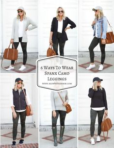 6 Ways To Wear Spanx Camo Leggings Camo Leggings Outfit, Ankle Boots With Leggings, How To Wear Leggings, Dresses With Leggings, Leggings Fashion, Legging Outfits, Denim Leggings, Girly Outfits, Fall Outfits