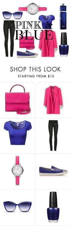 """Pink n blue"" by romi-kella on Polyvore featuring Kate Spade, FOSSIL, Miu Miu, GlassesUSA, OPI, Christian Dior, women's clothing, women, female and woman"