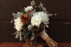 Rustic Winter White Wedding Bouquet, Winter Wedding Bouquet, Winter Brides Bouquet, Woodland Pinecone, Rose and Hydrangea Bridal Bouquet by SmokyMtnWoodcrafts on Etsy https://www.etsy.com/listing/210232884/rustic-winter-white-wedding-bouquet