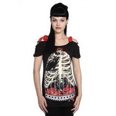 Tee Shirt Ample Gothique Squelette Corbeau
