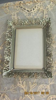 """REDUCED Vtg Mid Century Shabby Gold Tone Fancy Victorian Floral Scroll Designs Whitewash Metal Easel Back Photo Picture Frame, 7"""" x 9"""""""