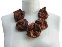 Rustic Leather Flower Statement Necklace Cognac by ManoBello