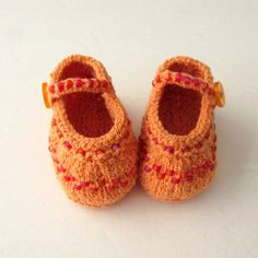 Hand Knit Baby Booties / Infant Girl Shoes - Beaded Mango Orange Mary Jane - Made to Order - pinned by pin4etsy.com