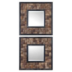 Barros Squares Layered Coconut Mirror, Set of 2