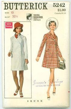 Butterick 5242 - 1960s Coat Dress Designed by Jean Muir