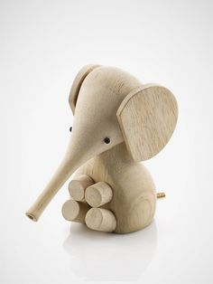 Rubber wood Baby Elephant from Gunnar Florning Collection by Danish design manufacturer Lucie Kaas for Kids Room or Nursery Decoration with Scandinavian Design. Wooden Elephant, Elephant Love, Ceramic Elephant, Toy Art, Decoration Design, Deco Design, Baby Toys, Kids Toys, Lagom Design