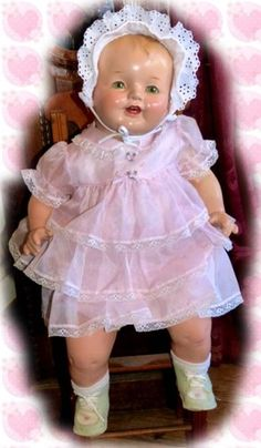 1930s Big Happy Composition Baby 26 Beauty in Pink Ruffles   eBay