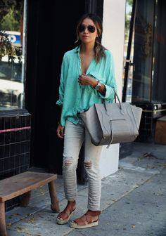 teal! // fall outfit with a pop of summer color