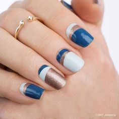 Copper sea #jamberry #sparkle #nails #mani #boldandmodern #esthersjams #navyandwhite