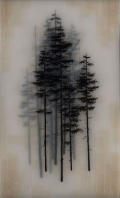 Incredible and Unique Drawings by Brooks Salzwedel - Artists Inspire Artists Evergreen Tree Tattoo, Pine Tree Tattoo, Evergreen Trees, Tree Sleeve, Forest Tattoos, Institute Of Contemporary Art, Unique Drawings, Encaustic Painting, Painting Trees
