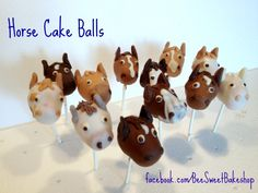 A posse of ponies - check out these adorable horse cake pops from Bee Sweet Bakeshop Diy Birthday, Birthday Cakes, Horse Cake Pops, Unicorn Party, Ponies, Farm Animals, Carousel, Cape, Birthdays
