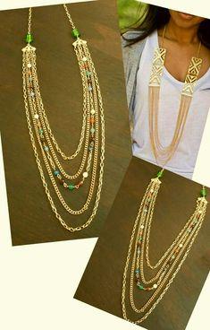 Collar largo chapa de oro varias cadenas y piedra inn moda tendencias