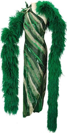 Nolan Miller Emerald Green Beaded Gown and Ostrich Feather Boa with Dyed-to-Match Satin Tap Shoes for Ann Miller, Worn at the 1986 Academy Awards.