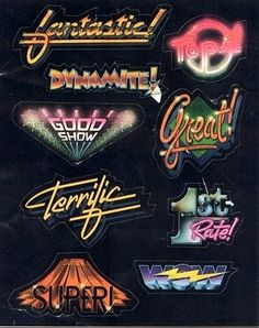 80's style typography and badges