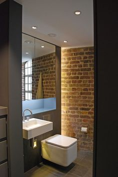 Bermondsey Warehouse Loft is a residential project designed by FORM Design Architecture and is located in London, England. FORM design architecture has completely refitted this Loft apartment in a. Loft Bathroom, Industrial Bathroom, Small Bathroom, Family Bathroom, White Brick Walls, Exposed Brick Walls, White Bricks, Loft D'entrepôt, Warehouse Loft
