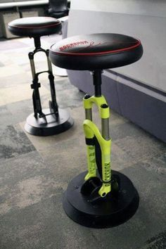 Bmw Bike Shocks Bar Stools Sports Furniture For Man CaveDiscover the top 75 best man cave furniture ideas for men, featuring manly sofas, chairs and more.Rockshox stools how cool are these? by gray_of_north Man Cave Furniture, Cool Furniture, Furniture Design, Furniture Ideas, Bike Storage Furniture, Suspension Bar, Automotive Furniture, Bicycle Art, Bike Design