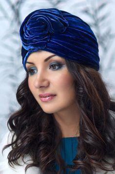"""Silk velvet couture turban """"Accomplishment"""""""
