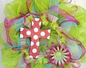 Spring Easter mesh wreath with cross