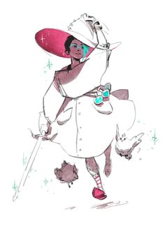 This year's incarnation of my witchsona has gotten more involved in potion brewing and traded her jorts out for comfier, more billowy attire. Since she's based off my Minecraft character, she hunts monsters with a diamond sword for power to use in enchanting and has many pet chickens.Here's last year's drawing! Didn't have time for anything quite as polished this time around :T