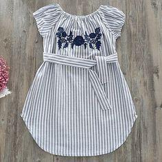 Flower Embroidered Vertical Stripe Belt Off-Shoulder Dress #Vertical, #Ad, #Embroidered, #Flower, #Stripe #Adver
