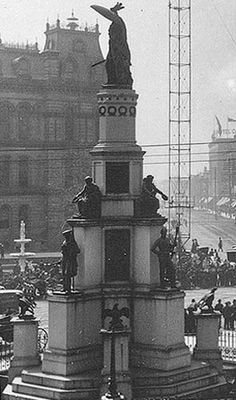 Michigan Soldier's and Sailor's Monument, in Detroit, commemorating Michigan's sailors and soldiers killed during the Civil War. It was unveiled on April 9, 1872. (Photo courtesy of Manning Brothers Commercial Photographers, Detroit, MI)