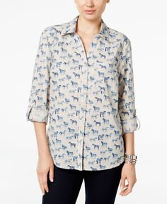 Fun printed horses gallop across this wear-anywhere shirt by Style & Co., featuring convenient roll tabs to create three-quarter sleeves.   Cotton   Machine washable   Imported   Point collar   Button