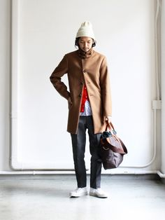 Long overcoat with beanie and duffle
