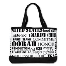 Devil Dogs and Jarheads, Marine Corps phrases, nicknames, OORAH, what a cool black and white bag