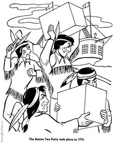 Boston Tea Party History Coloring Page