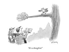 """size: Premium Giclee Print: """"It's a thongbird."""" - New Yorker Cartoon by Mike Twohy : Entertainment Cartoon Posters, Cartoon Jokes, Funny Cartoons, Funny Memes, Funny Stuff, Hilarious, Really Funny Pictures, Funny Photos, Humor"""