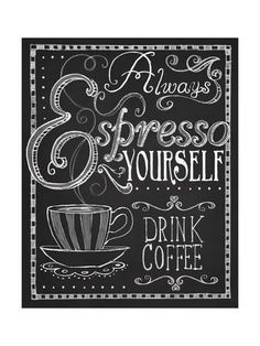 Shop Espresso Yourself, Coffee Chalkboard Typography Poster created by FionaStokesGilbert. Coffee Chalkboard, Chalkboard Typography, Typography Poster, Chalkboard Ideas, Framed Chalkboard, Frames On Wall, Framed Wall Art, Wall Decals, Wall Sticker