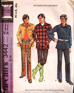 McCall's Sewing Pattern 3442 Men's Shirt-Jacket and Pants Size: 40 x 2 and Size 42 Used