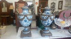JARRONES CERAMICA Y BRONCE (Antigüedades - Porcelana y Cerámica - Extranjera - Francesa - Otros)