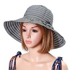 15d49b392ce Women Summer Foldable Breathable Stripe Wide Brim Floppy Bucket Hat Casual  Anti-UV Visor Beach