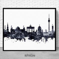 Berlin Print, Berlin Skyline, Berlin Germany, Office Decor, Office Art, Travel Poster, Watercolor City Posters, ArtPrintZone #OfficeArt #BerlinGermany #BerlinSkyline #BerlinPrint #OfficeDecor