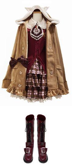 ネコ耳ファーダブルコート (キャメル) 時計刺繍ジャボブラウス (オフホワイト/ブラウン) CROWN Deerカーデ (ボルドー) チェックフリルしっぽスカート (ピンクチェック) にゃんこベロブーツ (ボルドー)