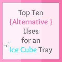 Top Ten Alternative Uses for an Ice Cube Tray | www.pinkrecipebox.com