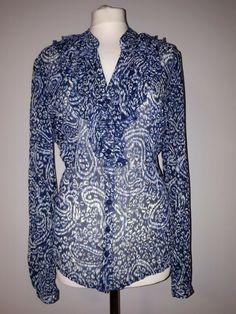New Womens Ex Brand Blue Fine Stripe Glass Beaded Detail Shirt Blouse Size 10-12
